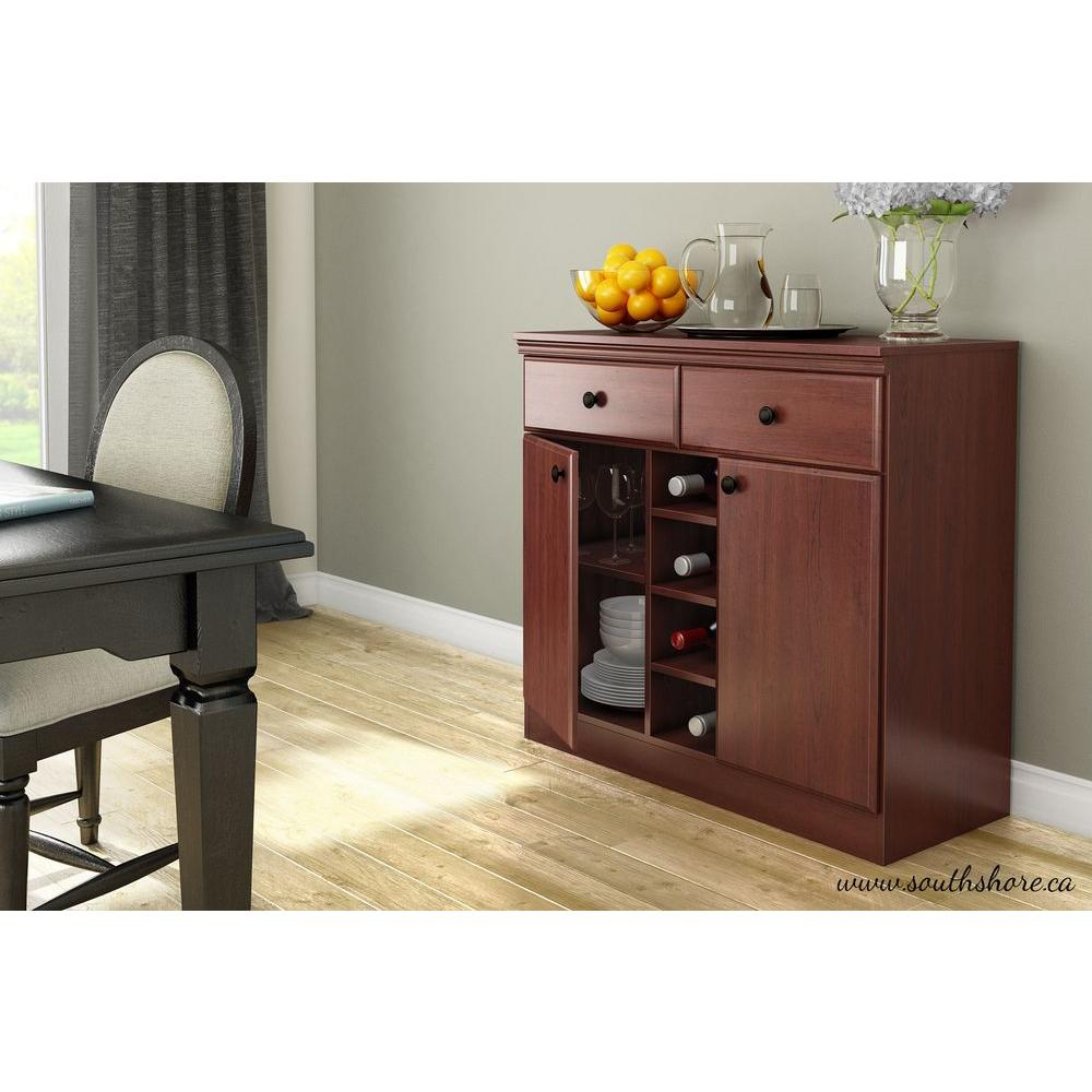 South Shore Morgan Royal Cherry Buffet with Wine Storage
