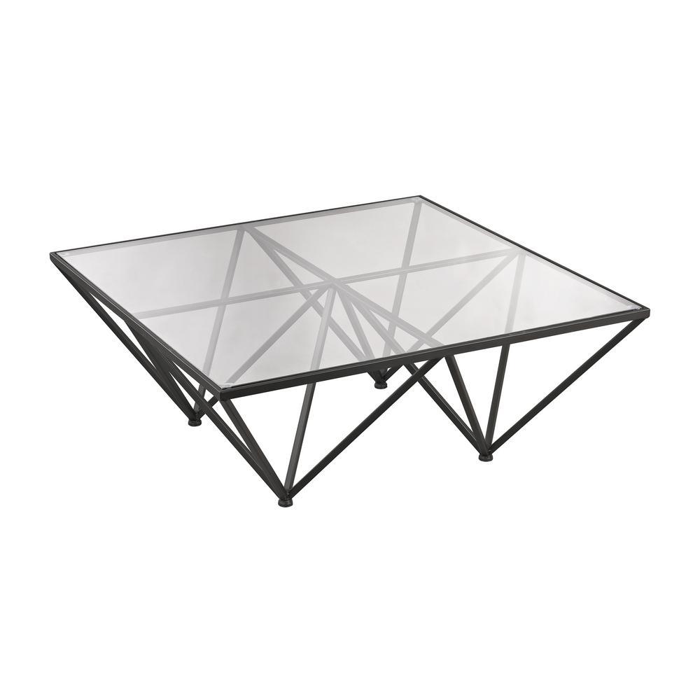 Titan Lighting Geometric Dark Bronze Metal And Glass Coffee Table