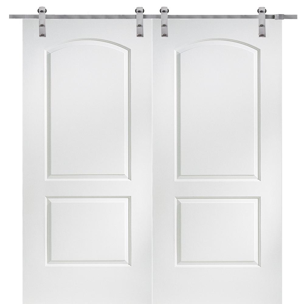60 in. x 80 in. Primed Molded MDF Caiman Barn Door with Sliding Door Hardware Kit