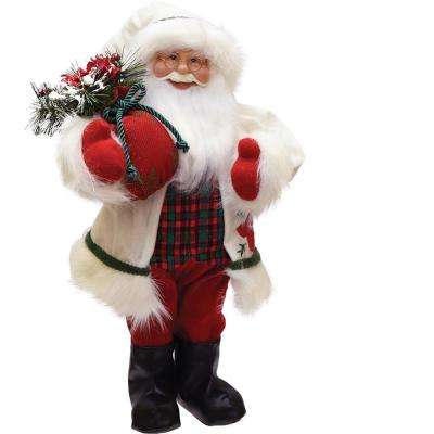 18 in. Santa in Winter Flannel with Sack of Pine Christmas Figure Table Top Decoration