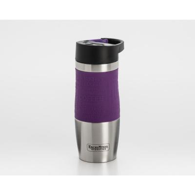 14 oz. Purple Double Walled Stainless Steel Coffee Tumbler with Hanging Loop