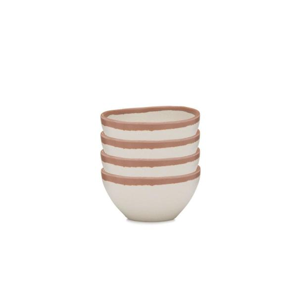 Potter 4-Piece 4 in  Terracotta Brown Melamine Bamboo Dip Bowl Set