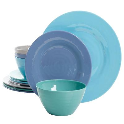 Brist 12-Piece Casual Gloss Melamine Outdoor Dinnerware Set (Service for 6)