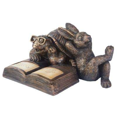 6 in. H x 11 in. W Reading Tortoise and Hare Solar Statue
