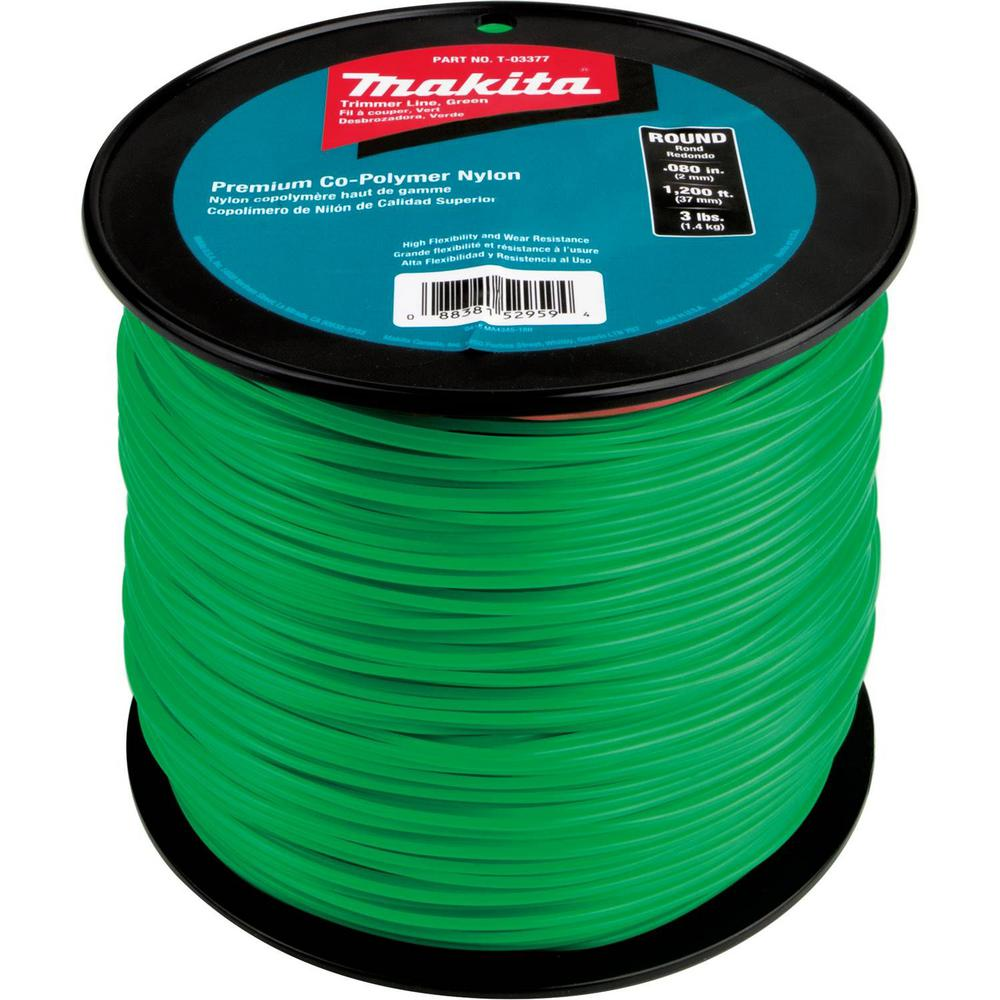Makita 3 lbs. 0.080 in. x 1,200 ft. Round Trimmer Line in Green