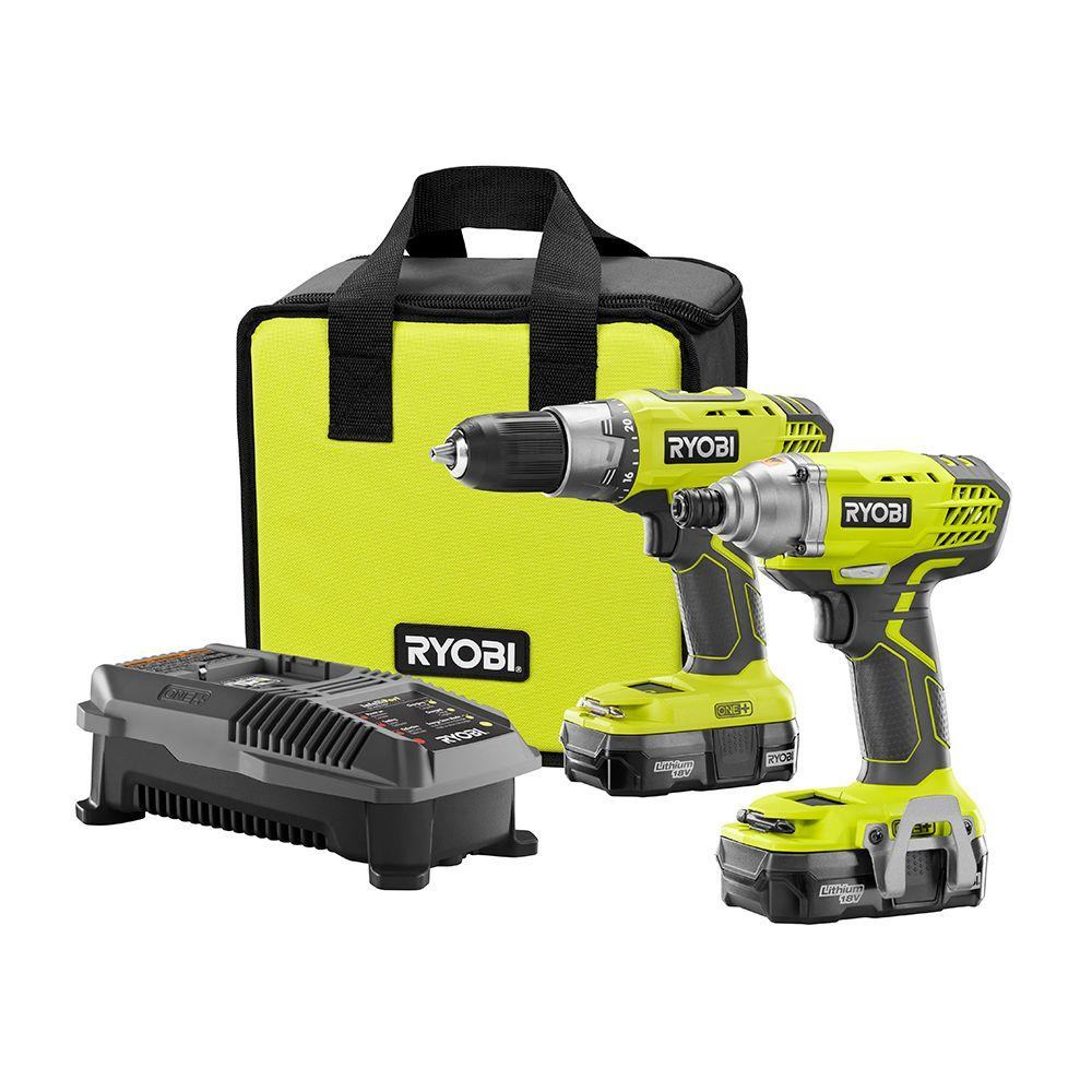 ryobi 18 volt one lithium ion cordless drill driver and impact driver combo kit with 2 1 3 ah. Black Bedroom Furniture Sets. Home Design Ideas