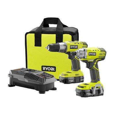 18-Volt ONE+ Lithium-Ion Cordless Drill/Driver and Impact Driver Combo Kit with (2) 1.3Ah Batteries, Charger and Bag