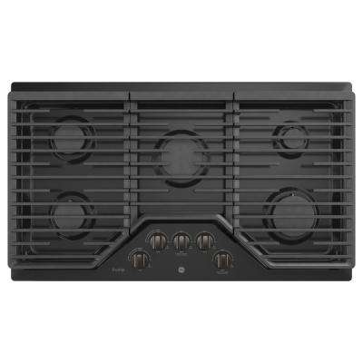 Profile 36 in. Gas Cooktop in Black Stainless Steel with 5 Burners including Rapid Boil Burner Technology