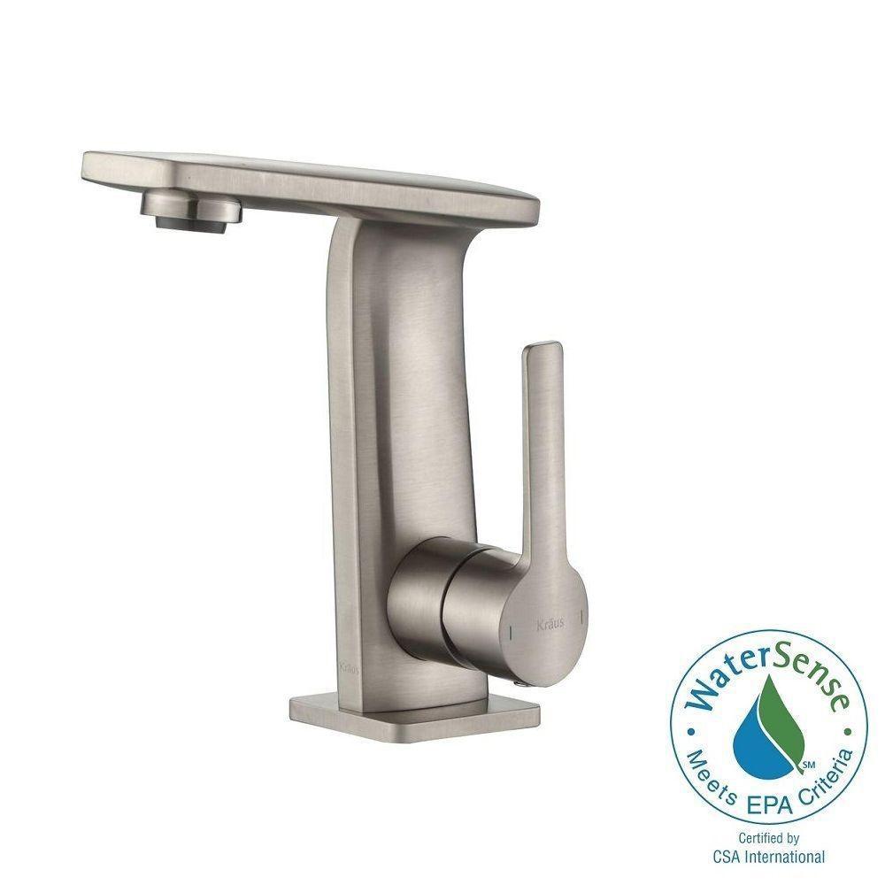 novus single hole midarc bathroom faucet in brushed nickel - Kraus Faucets