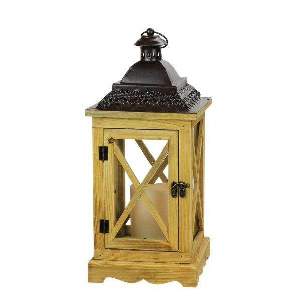 Gerson 17.5 in. Rustic Wooden Lantern with Brown Metal Top and LED Flameless Pillar Candle with Timer