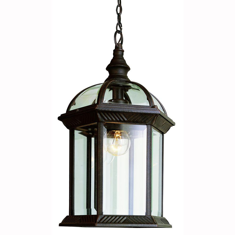 Bel Air Lighting Atrium 1 Light Outdoor Hanging Black Lantern With Clear Gl