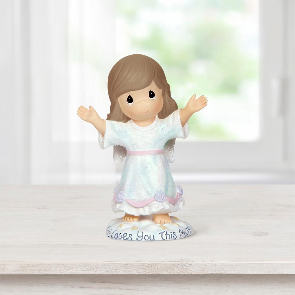 Precious Moments Tabletop Angel Resin God Loves You This Much Figurine, Multi With outstretched arms, this angel in a flowing white gown leaves no doubt as to how great God's love is. Delivers a reassuring message for anyone, sure to lift spirits and inspire smiles. Give this inspirational gift for any religious occasion like baptism, First Communion, confirmation and Easter or as a 'thinking of you' or 'just because' gift to anyone who could use some encouragement. Sculpted of cold-cast resin and carefully hand painted. Approximately 3.5 in. H. Color: Multi.