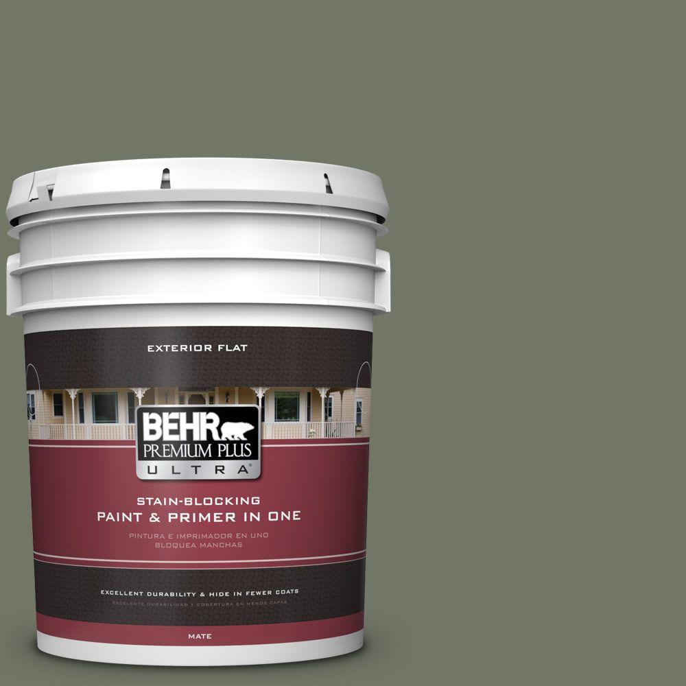 BEHR Premium Plus Ultra 5-gal. #PPU10-19 Conifer Green Flat Exterior Paint