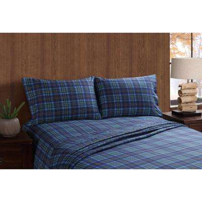 Moose and Canoe Plaid Queen Sheet Set