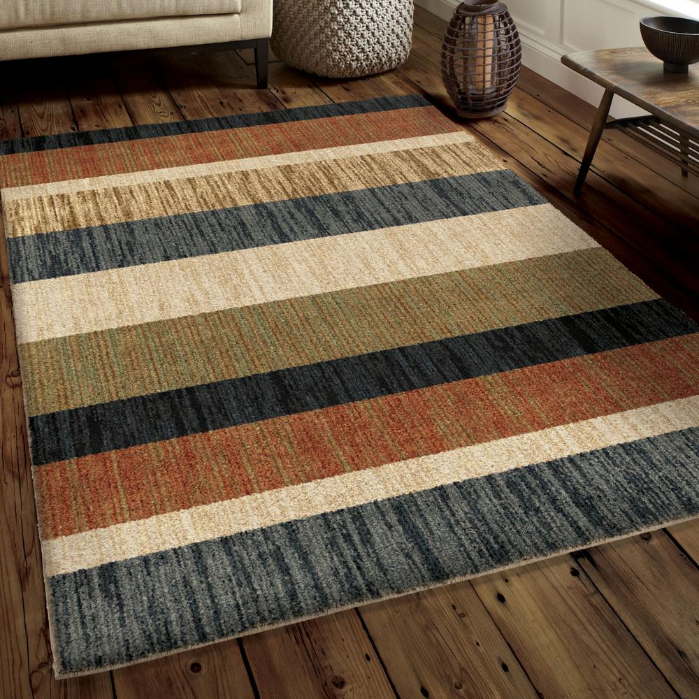 Plush Dusk Rug: Orian Rugs Layered Sand Plush Stripes Multi 8 Ft. X 11 Ft