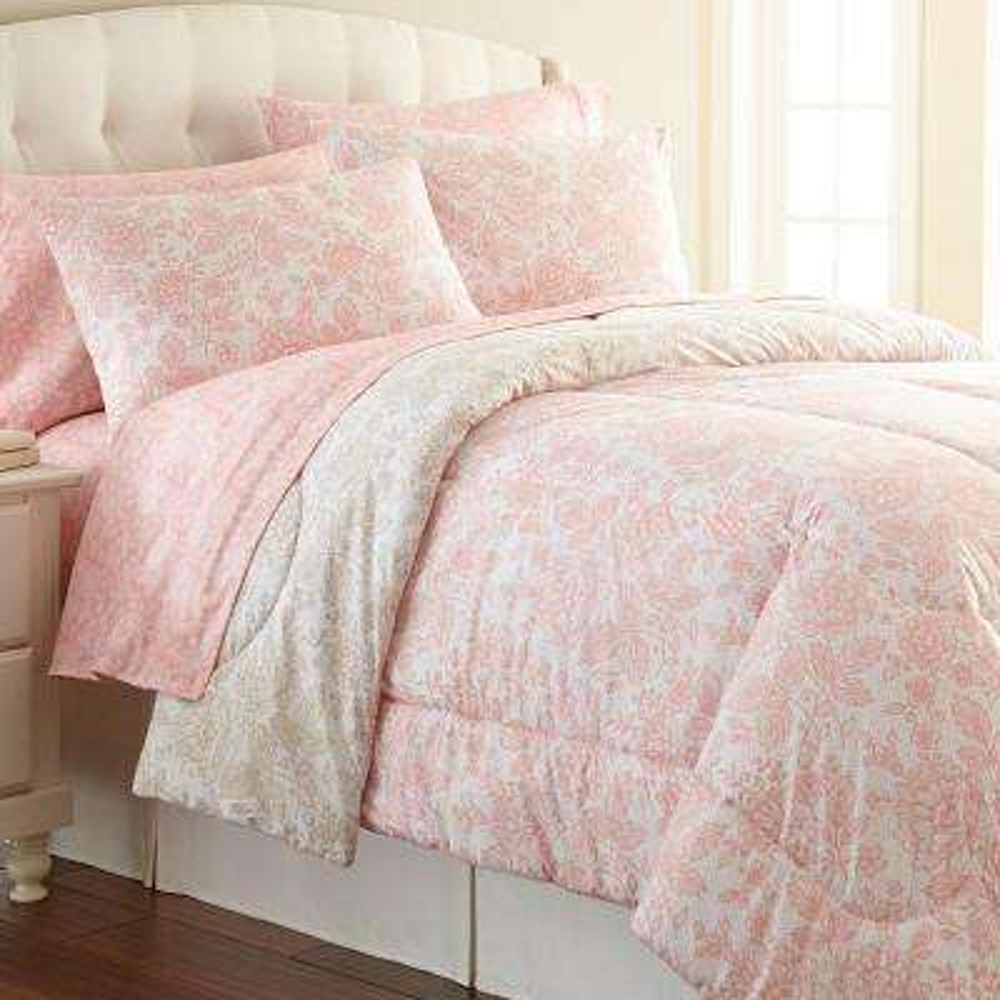 Enchantment 4-Piece Rose California King Polyester Sheet Set
