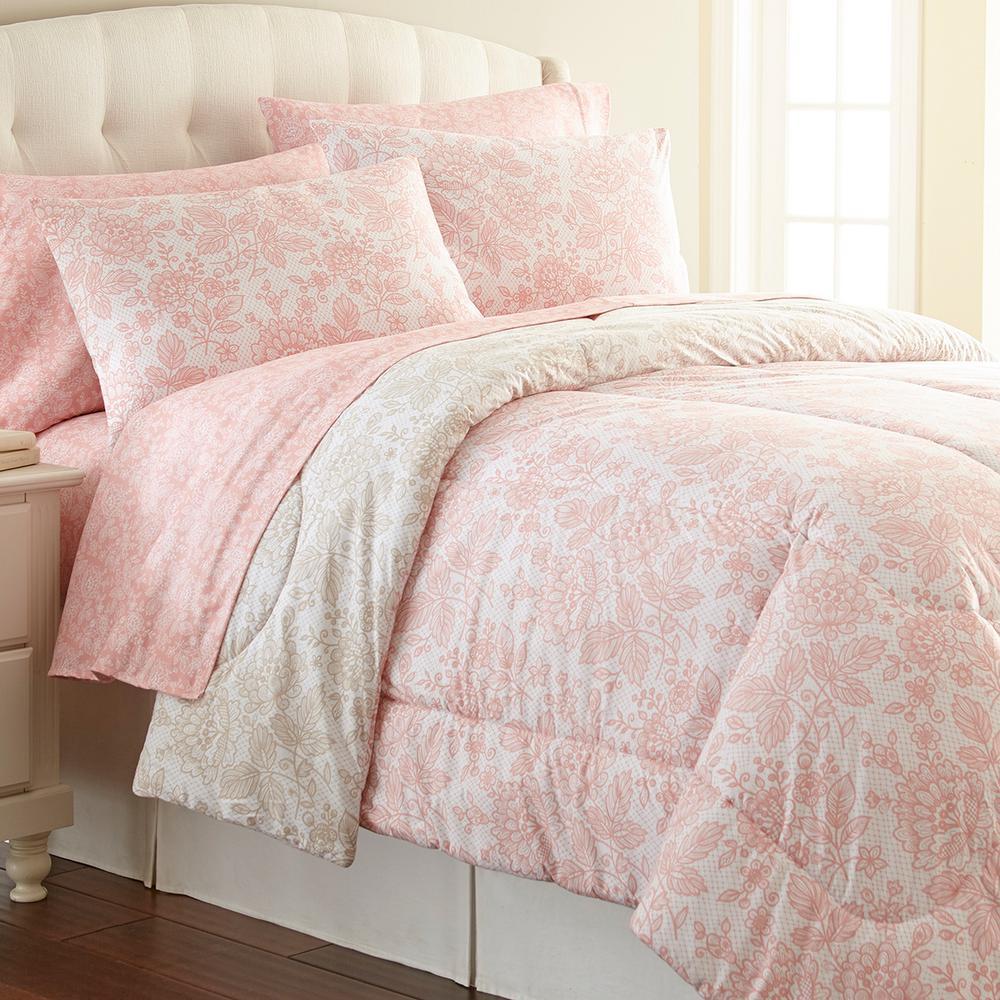 Micro Flannel Awning Stripe King 4 Piece Comforter Set