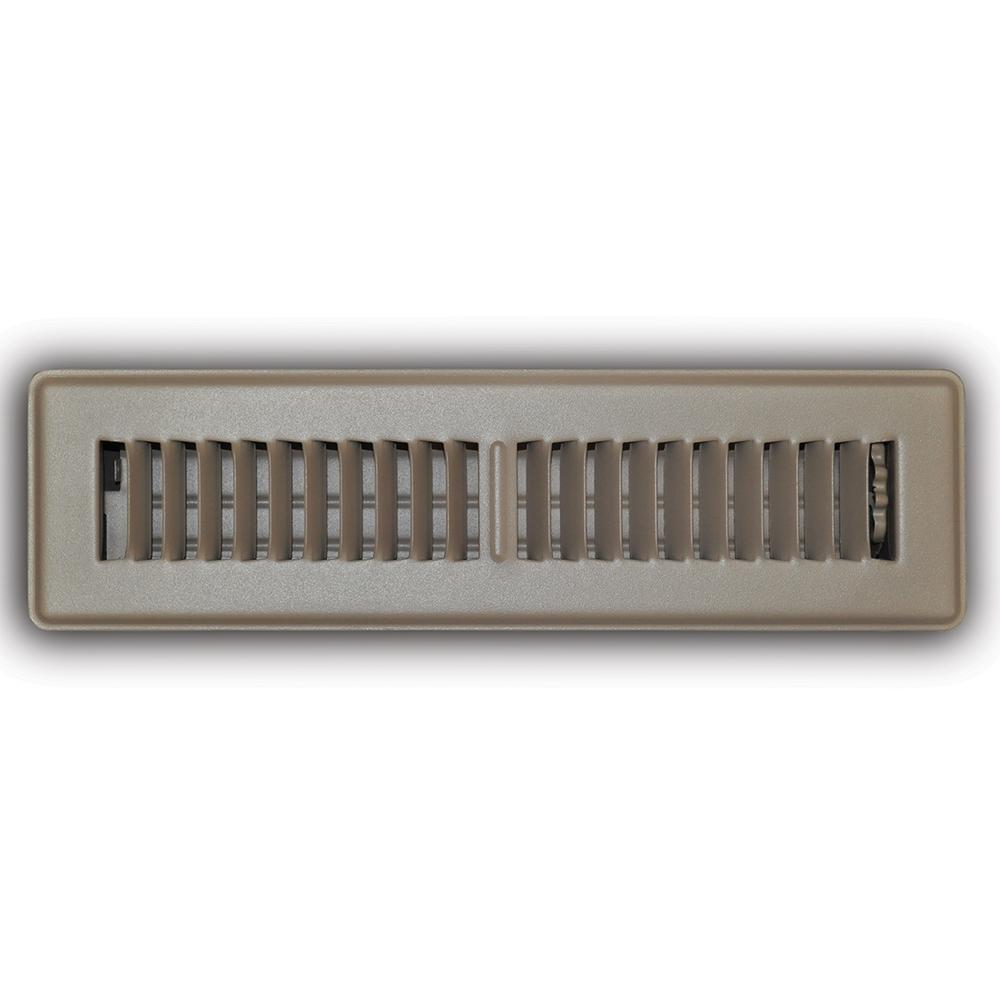 2 in. x 12 in. 2-Way Steel Floor Register in Brown