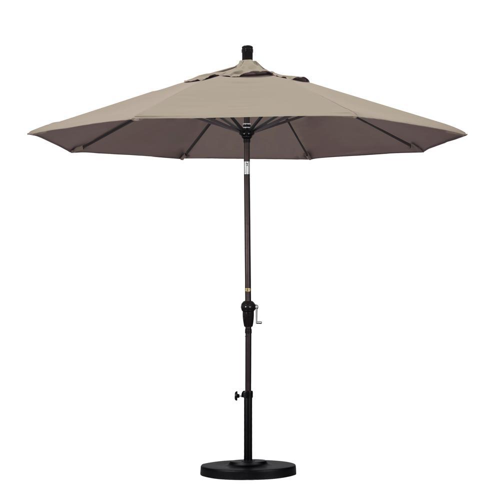 California Umbrella 9 ft. Bronze Aluminum Pole Market Aluminum Ribs Auto Tilt Crank Lift Patio Umbrella in Taupe Sunbrella