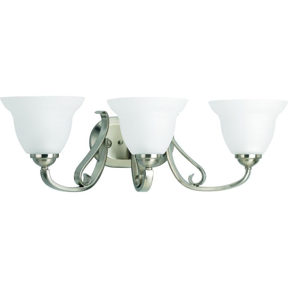 Torino 3-Light Brushed Nickel Bathroom Vanity Light with Glass Shades