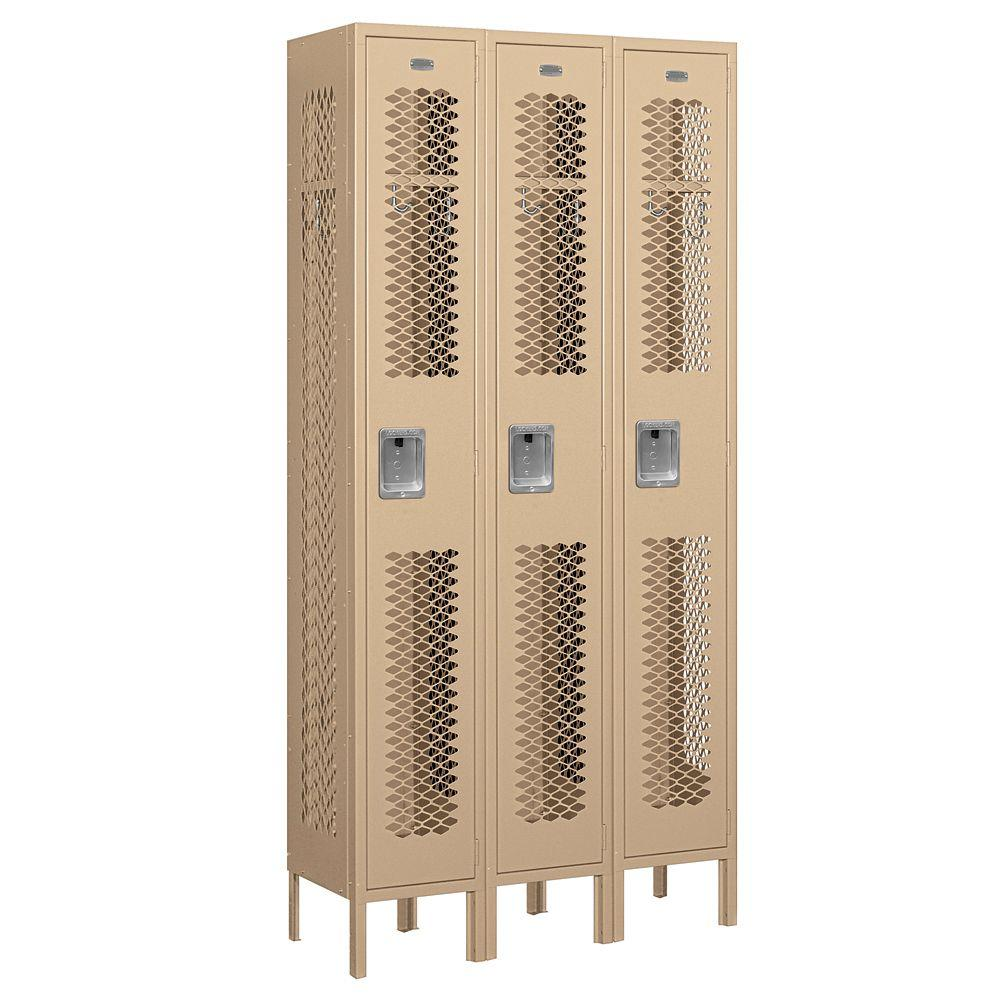 Salsbury Industries 71000 Series 36 in. W x 78 in. H x 12 in. D Single Tier Vented Metal Locker Unassembled in Tan