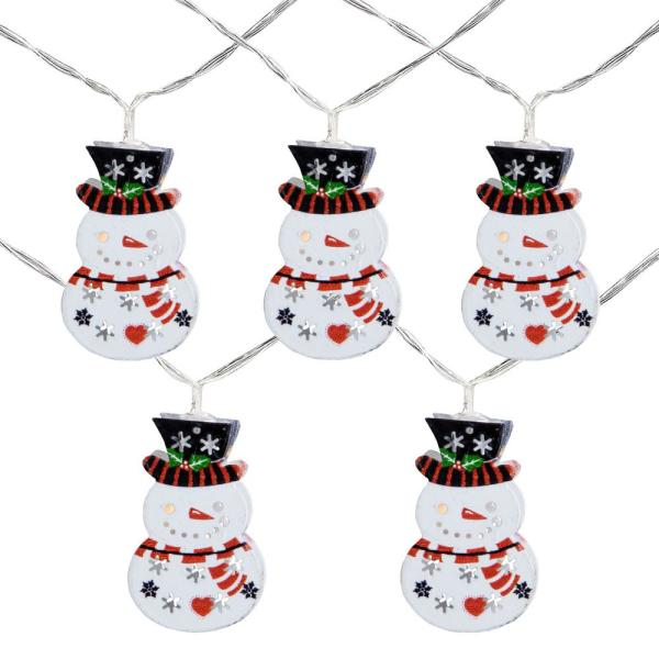 4.5 ft. 10-Count Snowmen with Top Hats LED Christmas Lights - Clear Wire