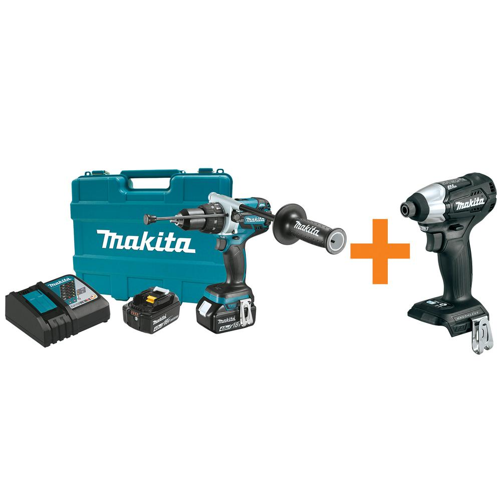 18-Volt LXT Brushless Lithium-Ion 1/2 in. Hammer Drill Kit with Bonus