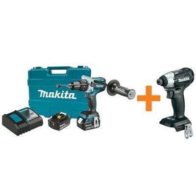 18-Volt LXT Brushless Lithium-Ion 1/2 in. Hammer Drill Kit with Bonus Sub-Compact Brushless Impact Driver (Tool-Only)
