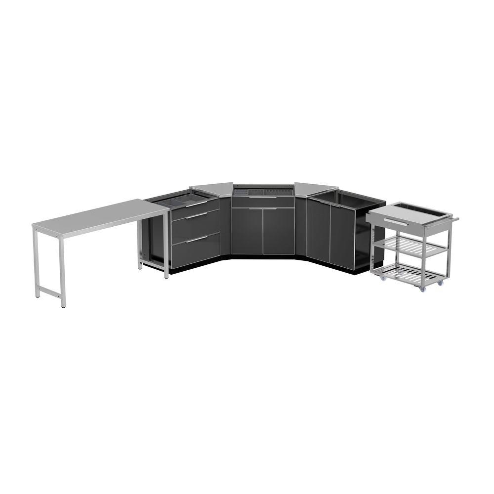 Aluminum Slate 7-Piece 150x36x86 in. Outdoor Kitchen Cabinet Set without Counter