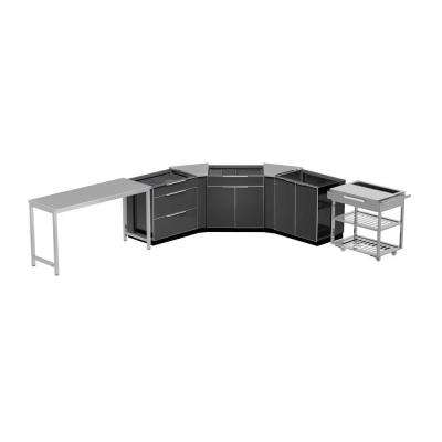Aluminum Slate 7-Piece 150x36x86 in. Outdoor Kitchen Cabinet Set without Counter Tops