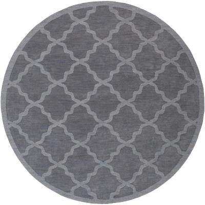 Central Park Abbey Charcoal 10 ft. x 10 ft. Round Indoor Area Rug