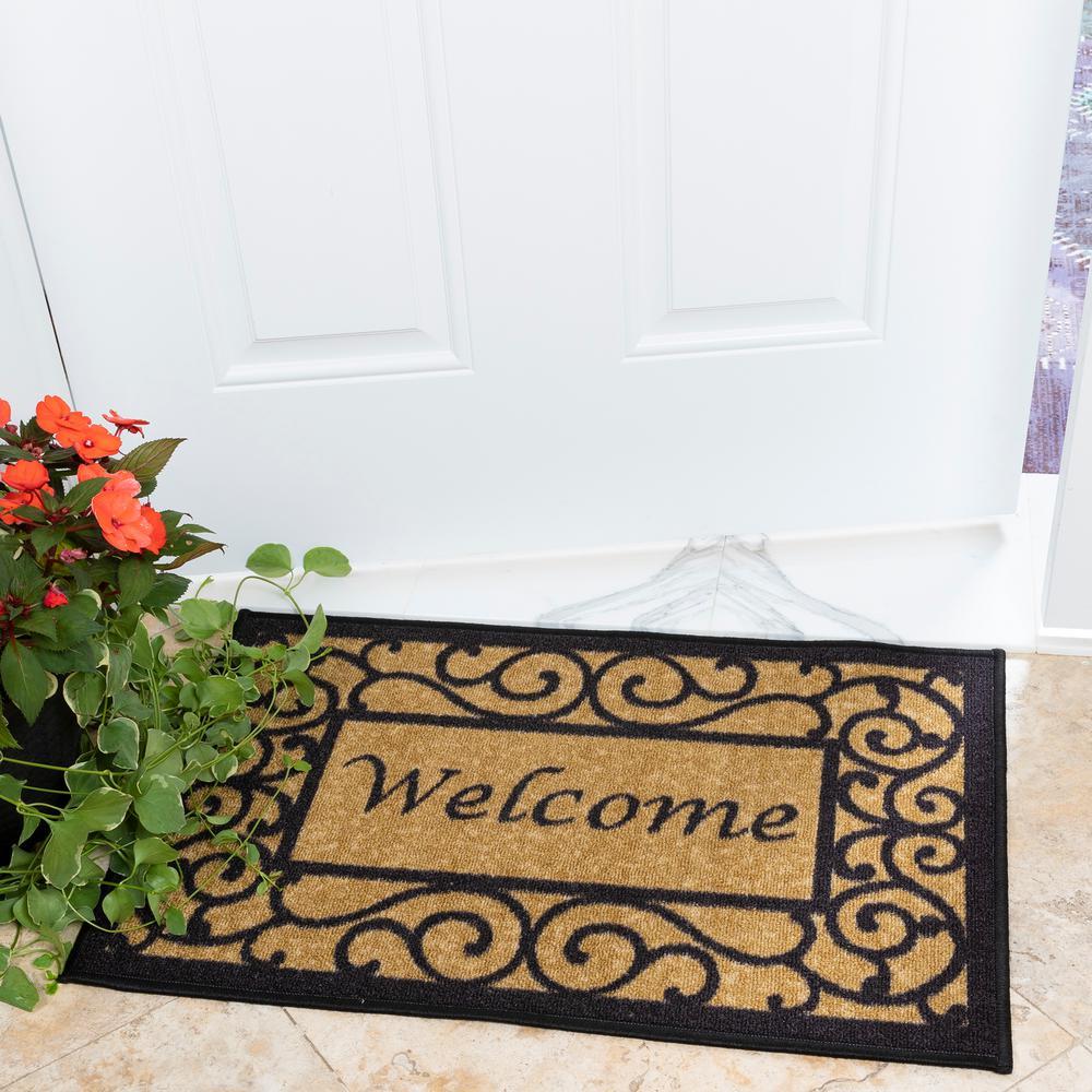 Ottomanson Welcome Beige 20 In X 30 In Non Slip Door Mat Oth2232 20x30 The Home Depot