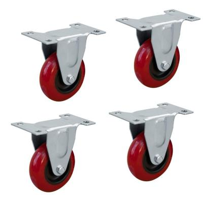 3 in. Dia Fixed Polyurethane Plate Caster in Red (4-Pack)