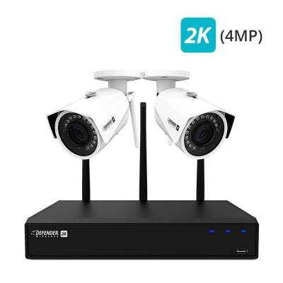 2K Wireless 4-Channel 4-MP 1TB NVR Security Surveillance System with Remote Viewing and 2-Wide Angle Wi-Fi Cameras