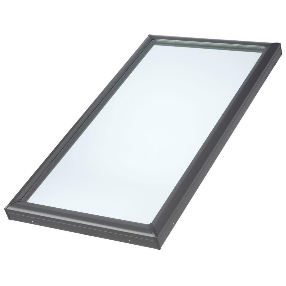 VELUX 22-1/2 in. x 30-1/2 in. Fixed Curb-Mount Skylight with Tempered Low-E3 Glass ECL Flashing