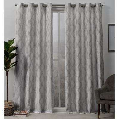 Stark 54 in. W x 96 in. L Woven Blackout Grommet Top Curtain Panel in Dove Grey (2 Panels)