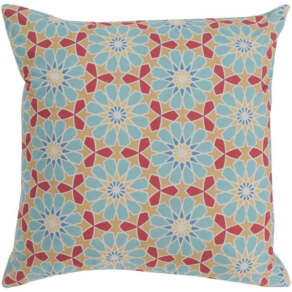 Millaray Blue Geometric Polyester 18 in. x 18 in. Throw Pillow
