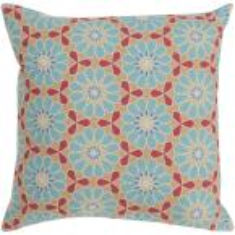 Millaray Blue Geometric Polyester 22 in. x 22 in. Throw Pillow