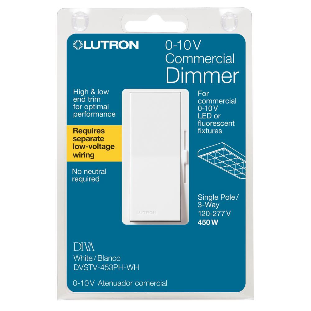 Lutron Diva Dimmer for 0-10V LED/Fluorescent Fixtures, Single-Pole on