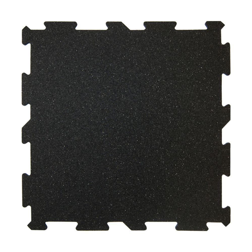 XR6 Black 18 in. x 18 in. Rubber Activity Floor (12-Pack)
