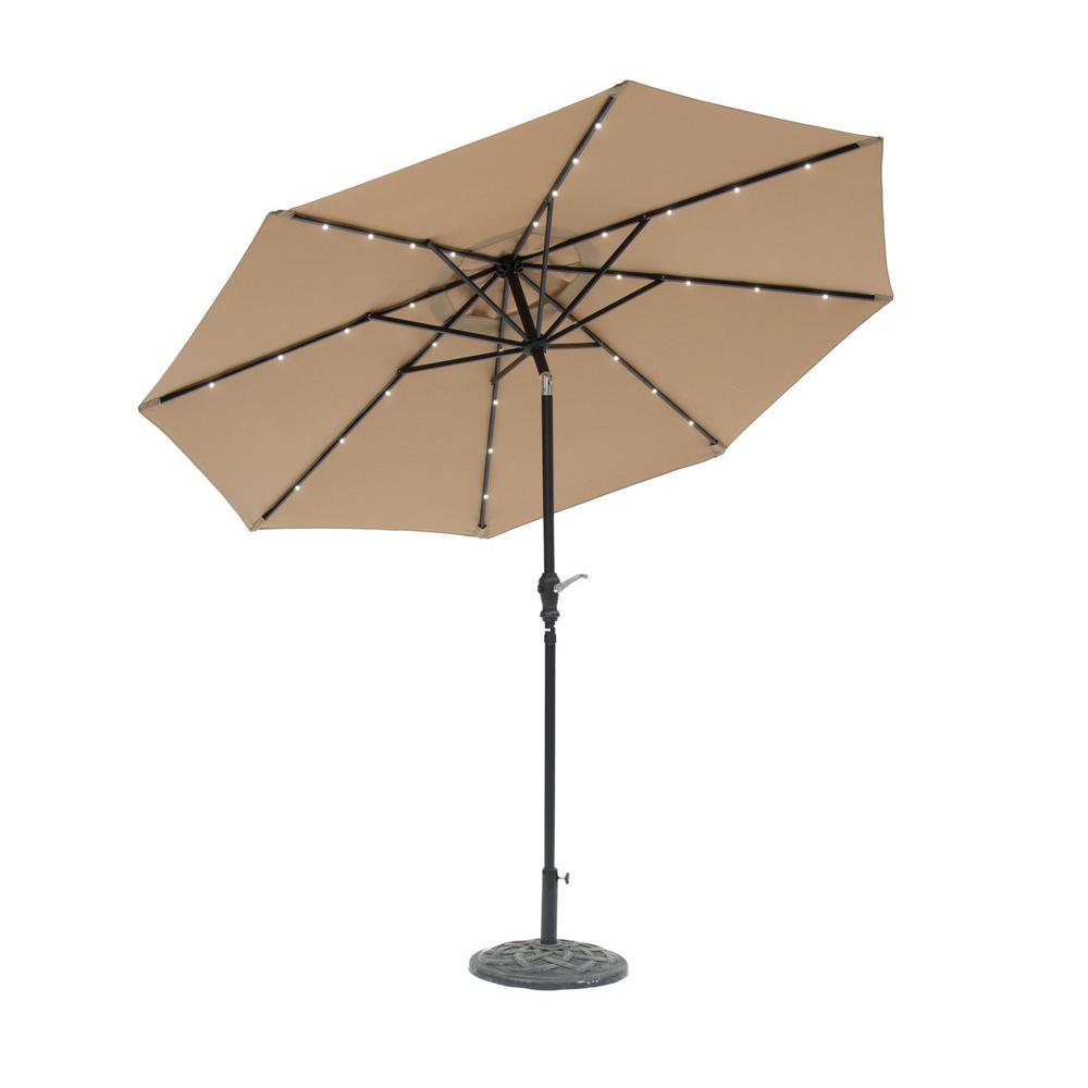 Patio Umbrella Rental: SunRay 9 Ft. Round Solar Lighted Market Patio Umbrella In