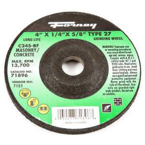 Forney 4 inch x 1/4 inch x 5/8 inch Masonry Type 27 C24S-BF Grinding Wheel by Forney