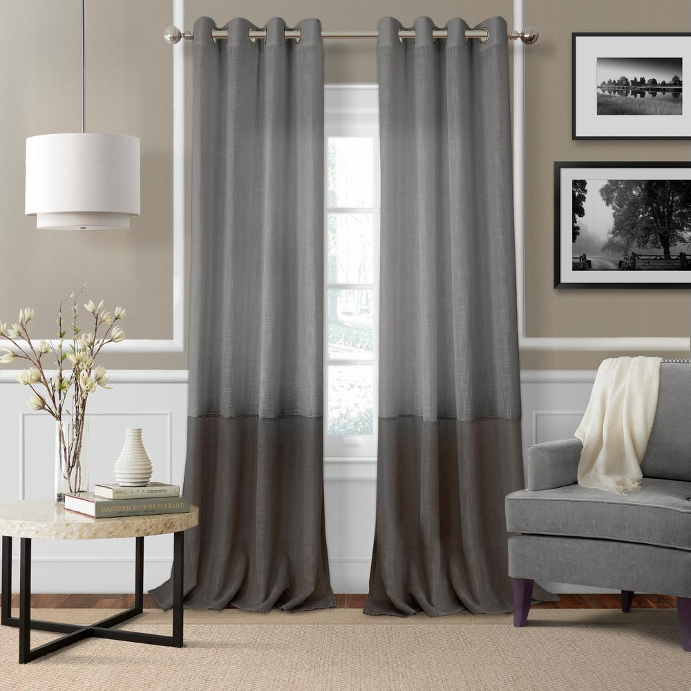 69c9d8838a33 Elrene Melody Color Block Semi-Sheer Window Curtain-18869GRY - The ...
