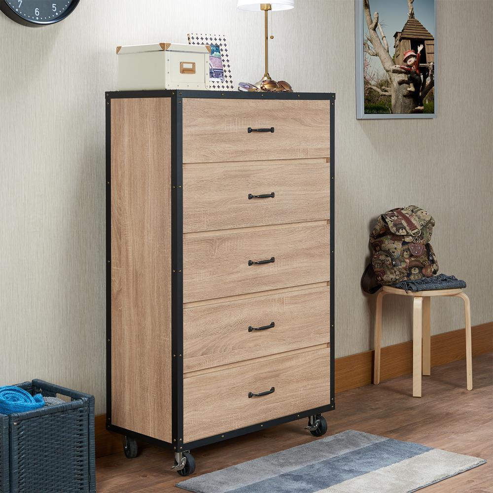 Acme Furniture Bemis 5 Drawer Weathered Light Oak Chest