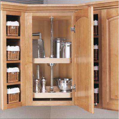 35 in. H x 20 in. W x 20 in. D Wood 3-Shelf D-Shape Lazy Susan Set