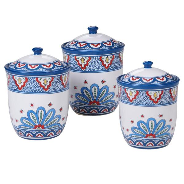 Tangier 3-Piece Country/Cottage Multi-Colored Ceramic 54, 72, 104 oz. Canister Set