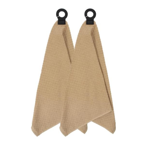 Hook and Hang Biscotti Woven Cotton Kitchen Towel (Set of 2)