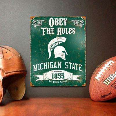 14.5 in. H x 11.5 in. D Heavy Duty Steel Michigan State Spartans Embossed Metal Sign Wall Art