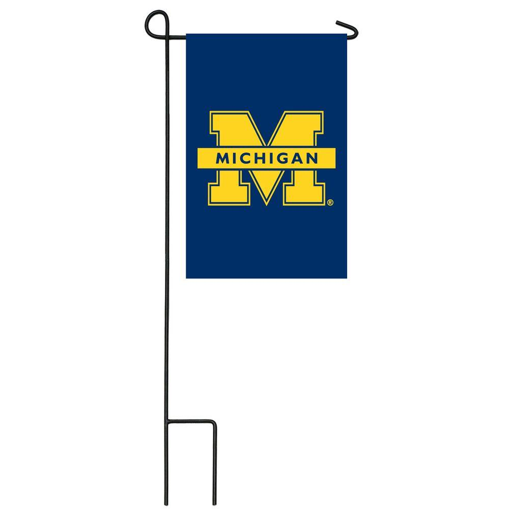 Team Sports America NCAA 12-1/2 in. x 18 in. Michigan 2-Sided Garden Flag with 3 ft. Metal Flag Stand