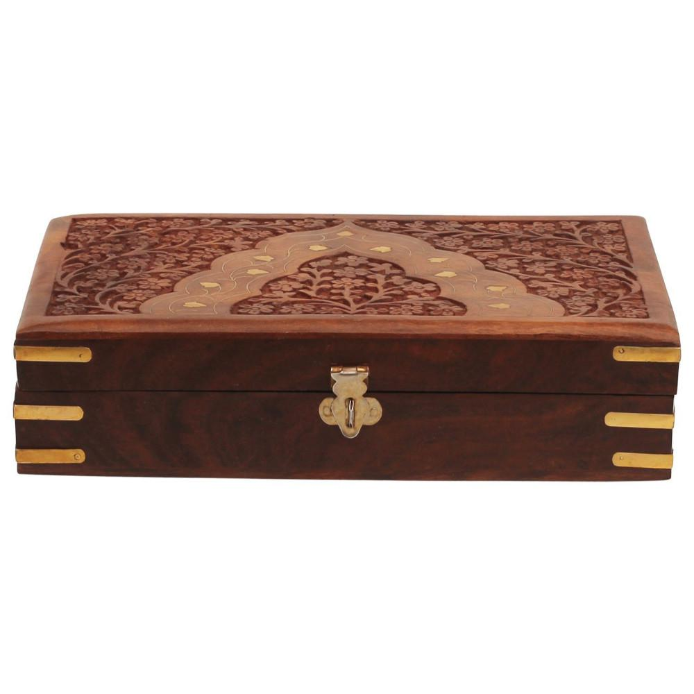 Floral Carving Brown Handcrafted Jewelry Storage Box